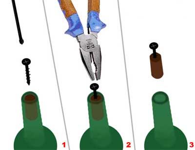 Використати шуруп та плоскогубці